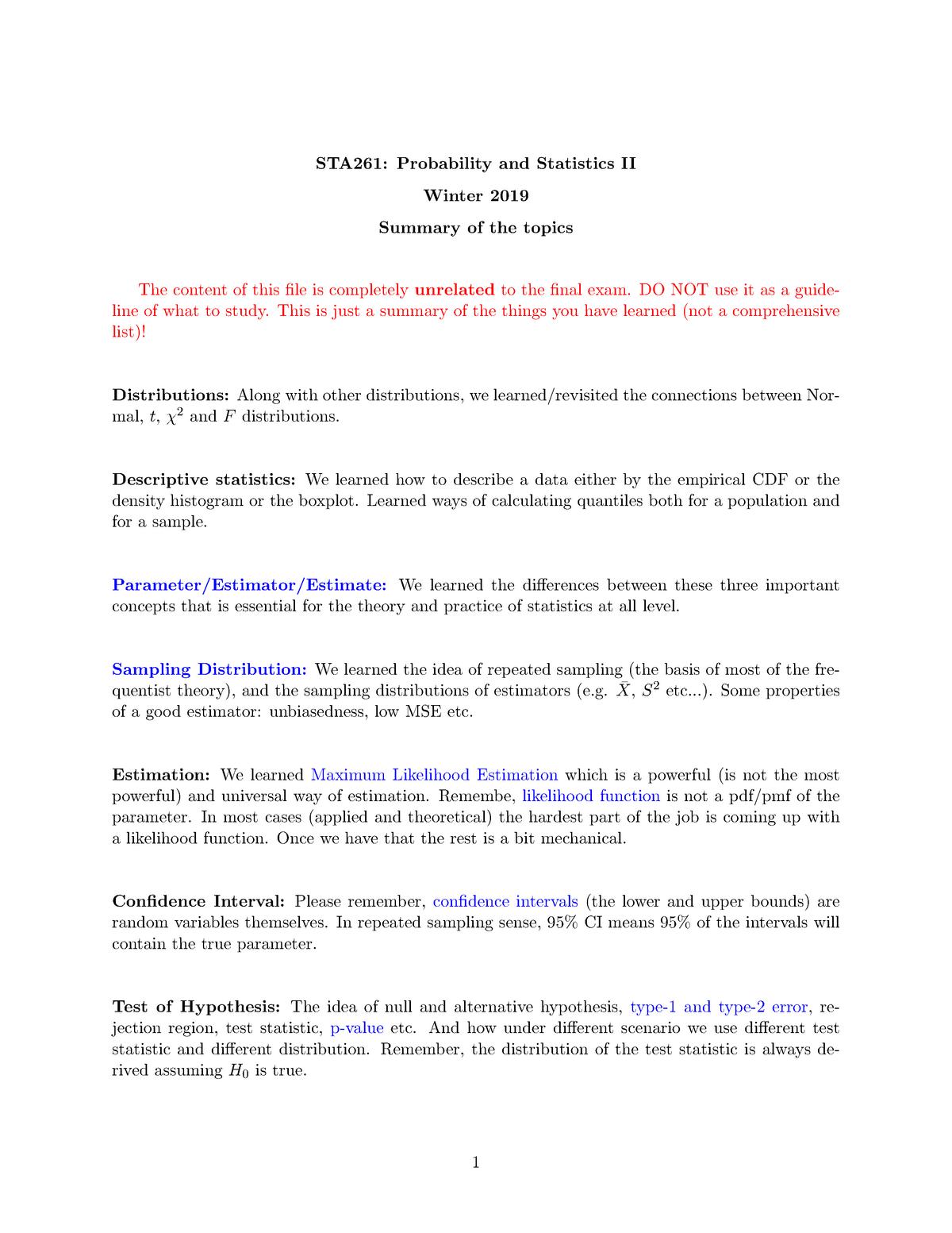 Summary - Probability and Statistics II Sta261H1 - StuDocu