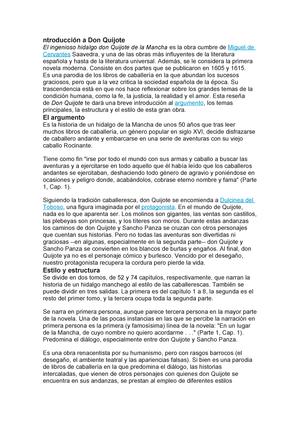Resumen Don Quijote De La Mancha Accounting Studocu