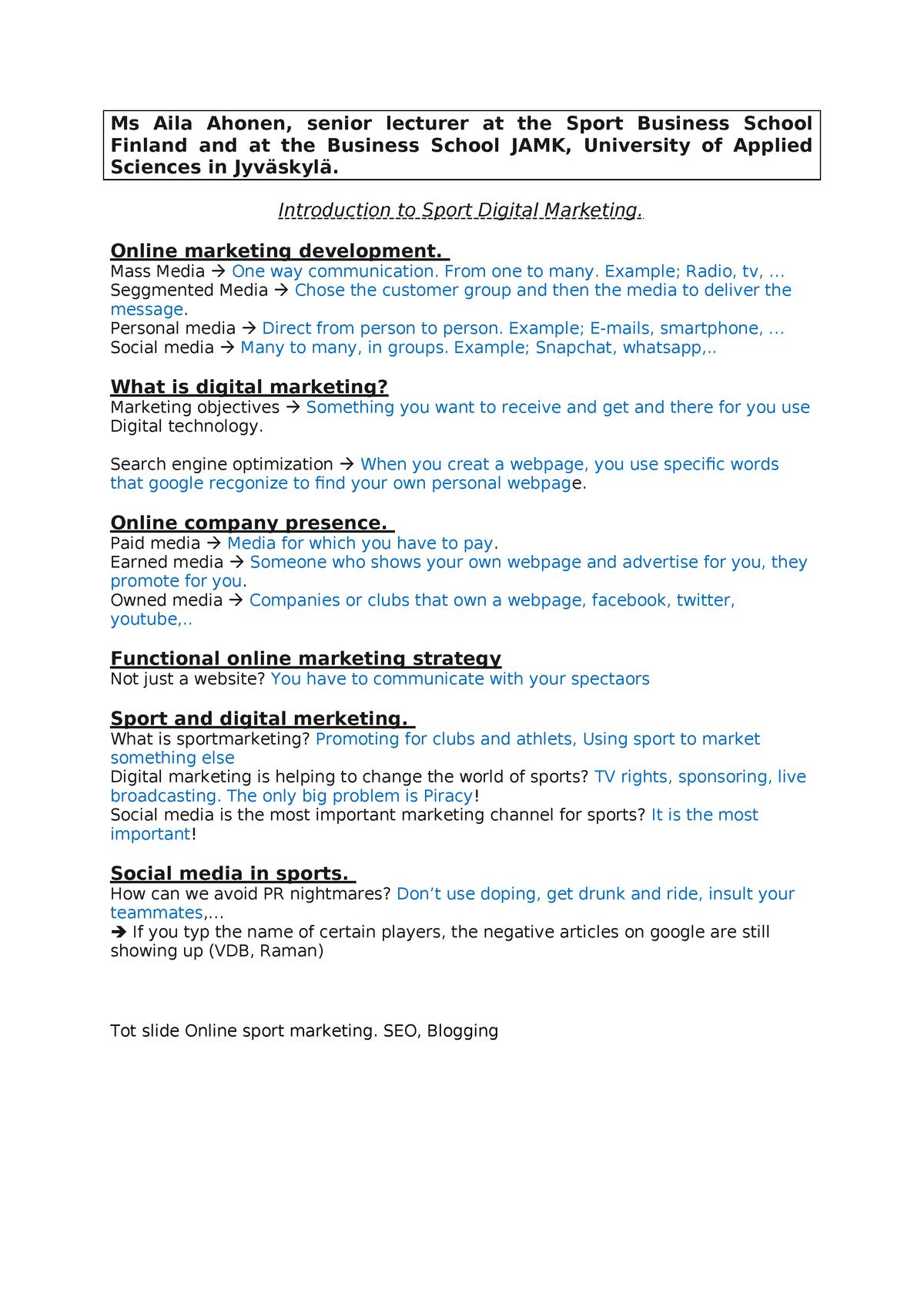 Marketing Finland - V3T067: Managementvaardigheden - StuDocu