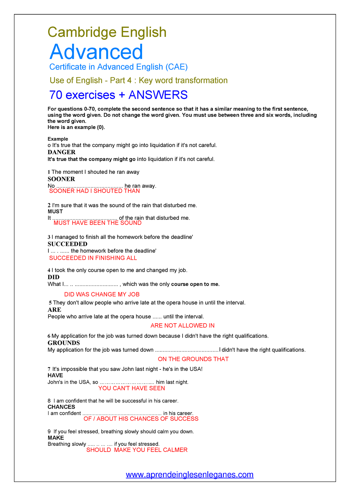 70 CAE KEY WORD Transformations + Answers - Lingua Inglese