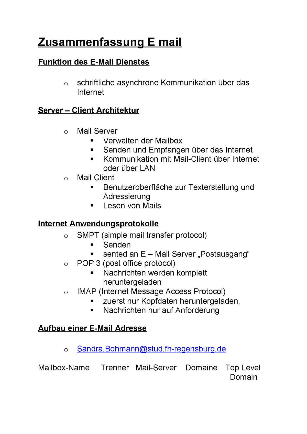 Zusammenfassung E Mail It Grundlagen Oth Regensburg