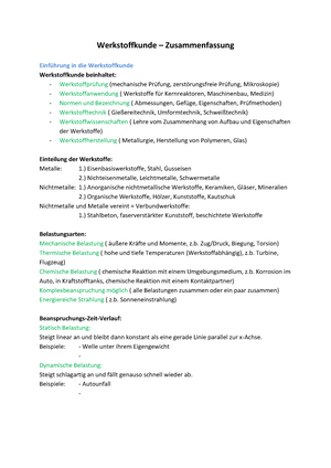 Werkstoffkunde 1 Zusammenfassung Werkstoffkunde