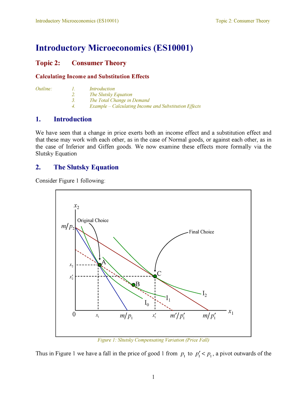Calculating Income and Substitution Effects - ES10010 - Bath
