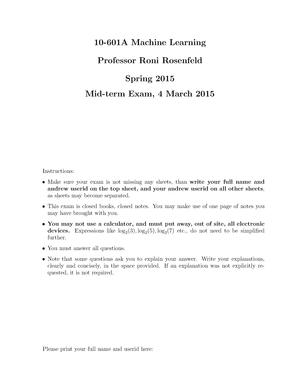 Cmu Machine Learning Exam - Quantum Computing