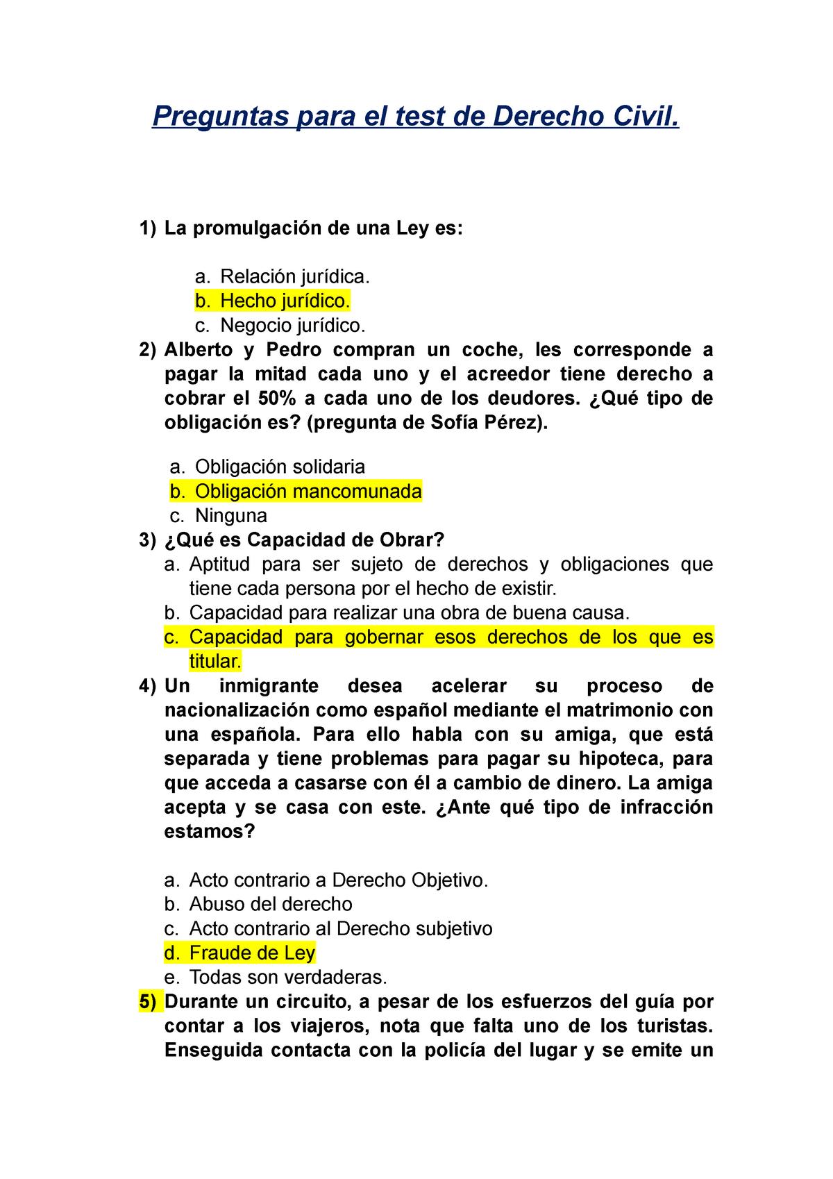 Examen De Muestra Derecho Civil Studocu