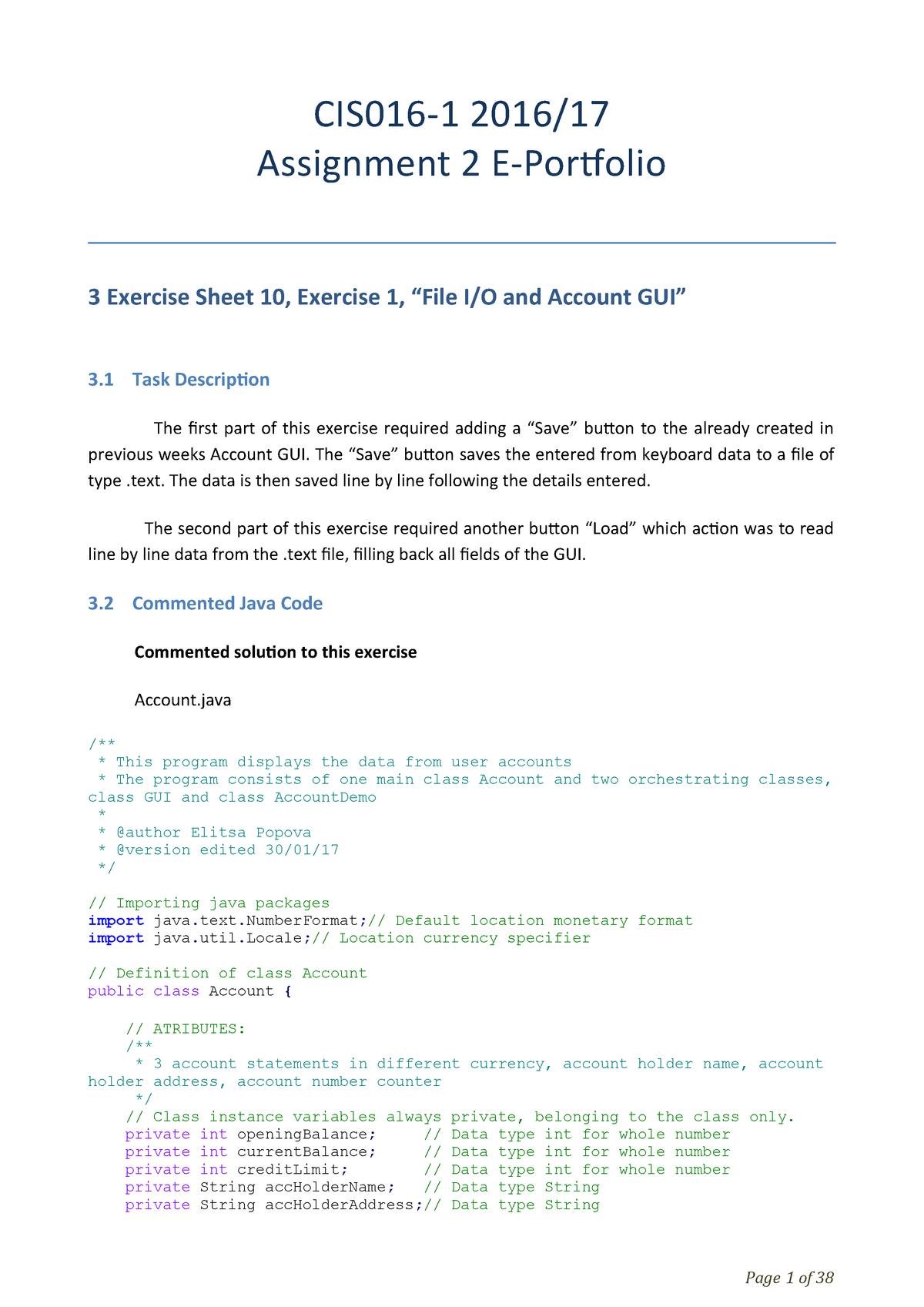 CIS016-1 Assignment 2 Portfolio - CIS016-1/MK/SEM2