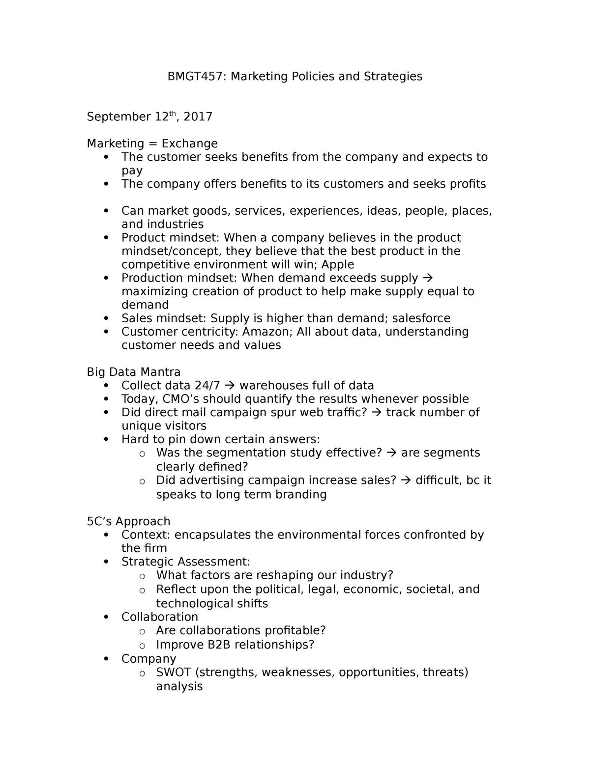 BMGT457 Notes - BMGT457: Marketing Policies and Strategies