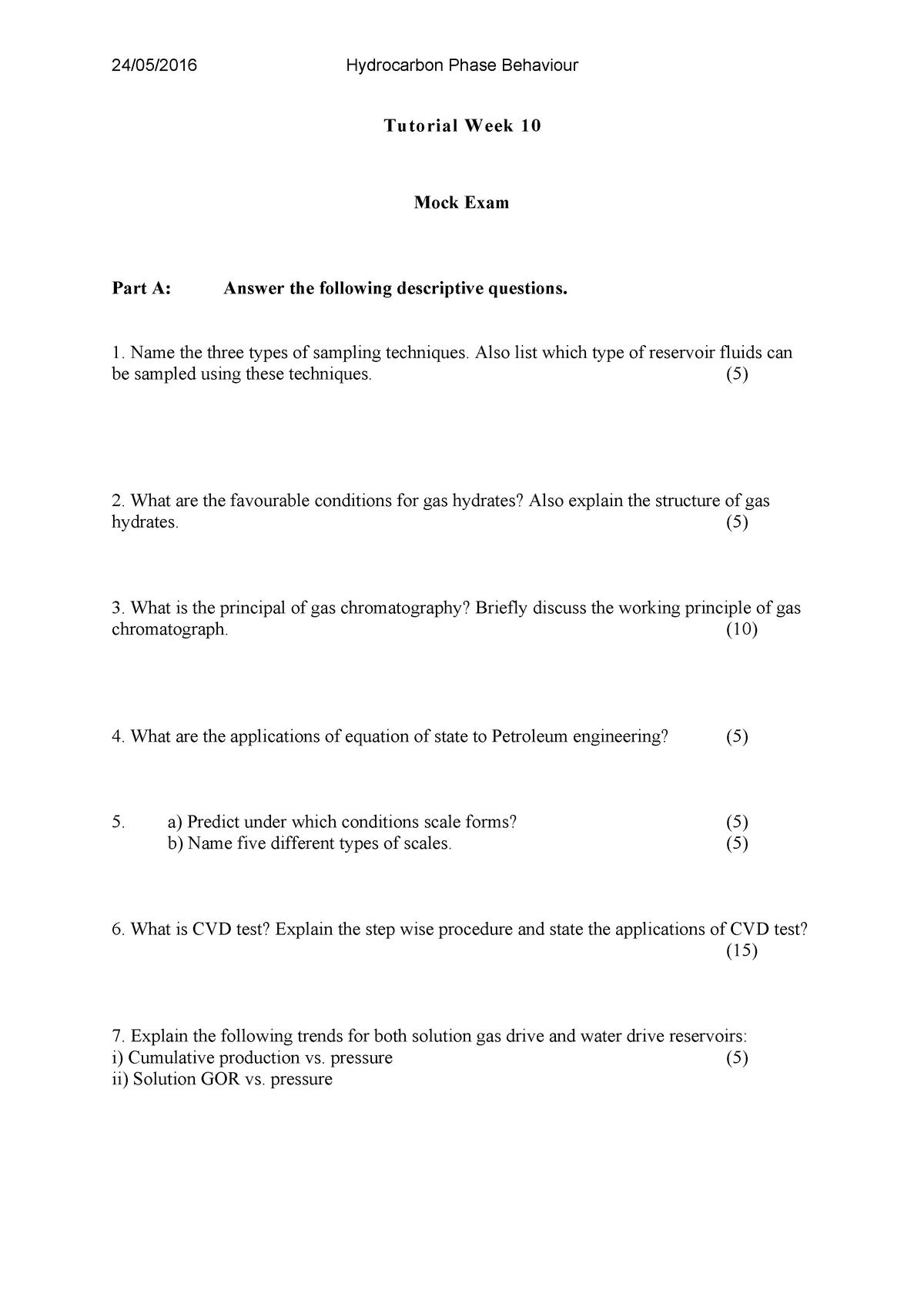 Week 10 Mock Exam - 313608: Chemical Engineering Stream