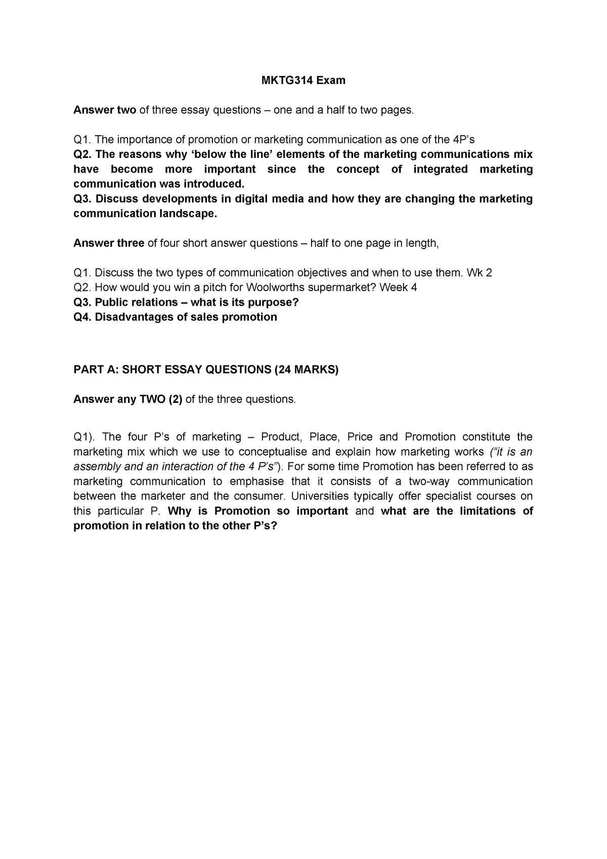 Exam 9 June 2016, questions and answers - MKTG314 - ACU