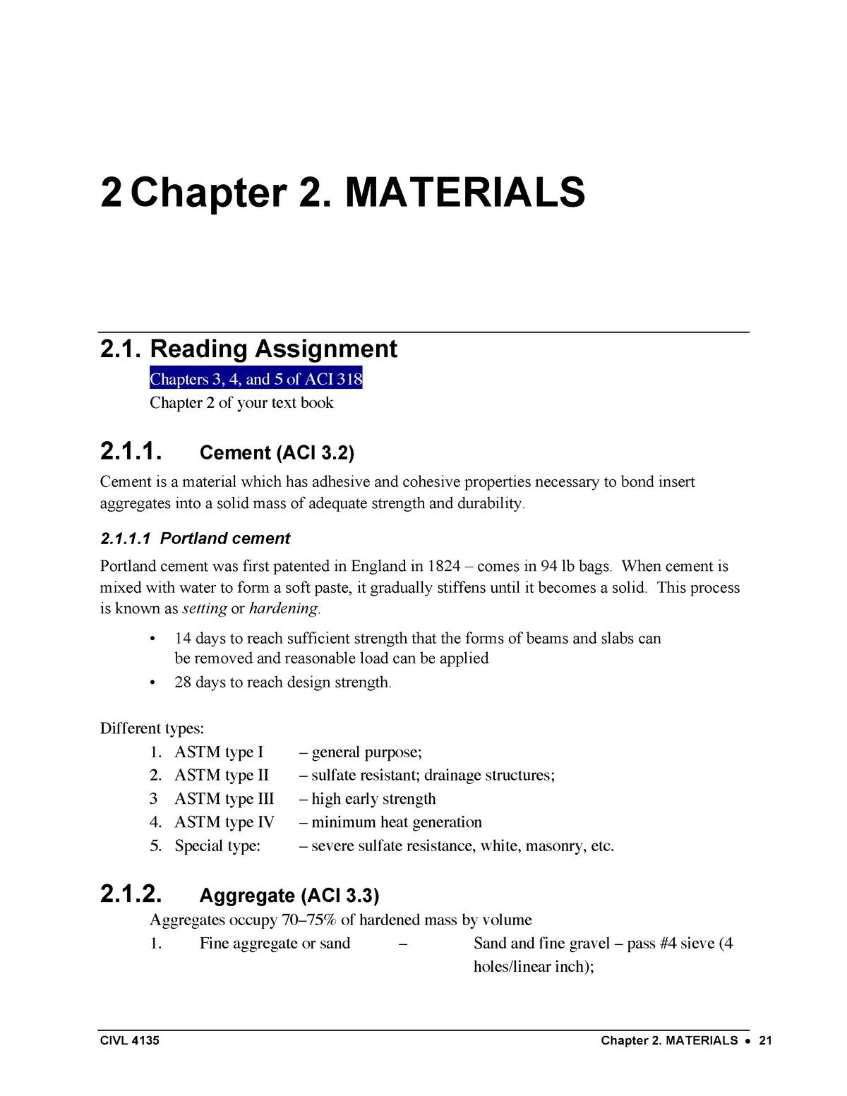 Materials chapter 2 - CIVL 4135 Reinforced Concrete Design