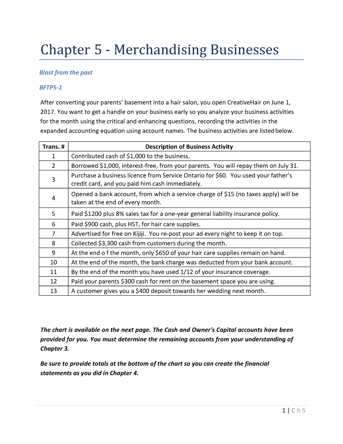 Chapter 5 - Merchandising Businesses - Student Copy - ACC