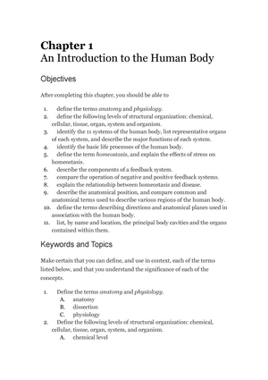 Chapter 1: study Guide - Biol 235: Human Anatomy and Physiology ...
