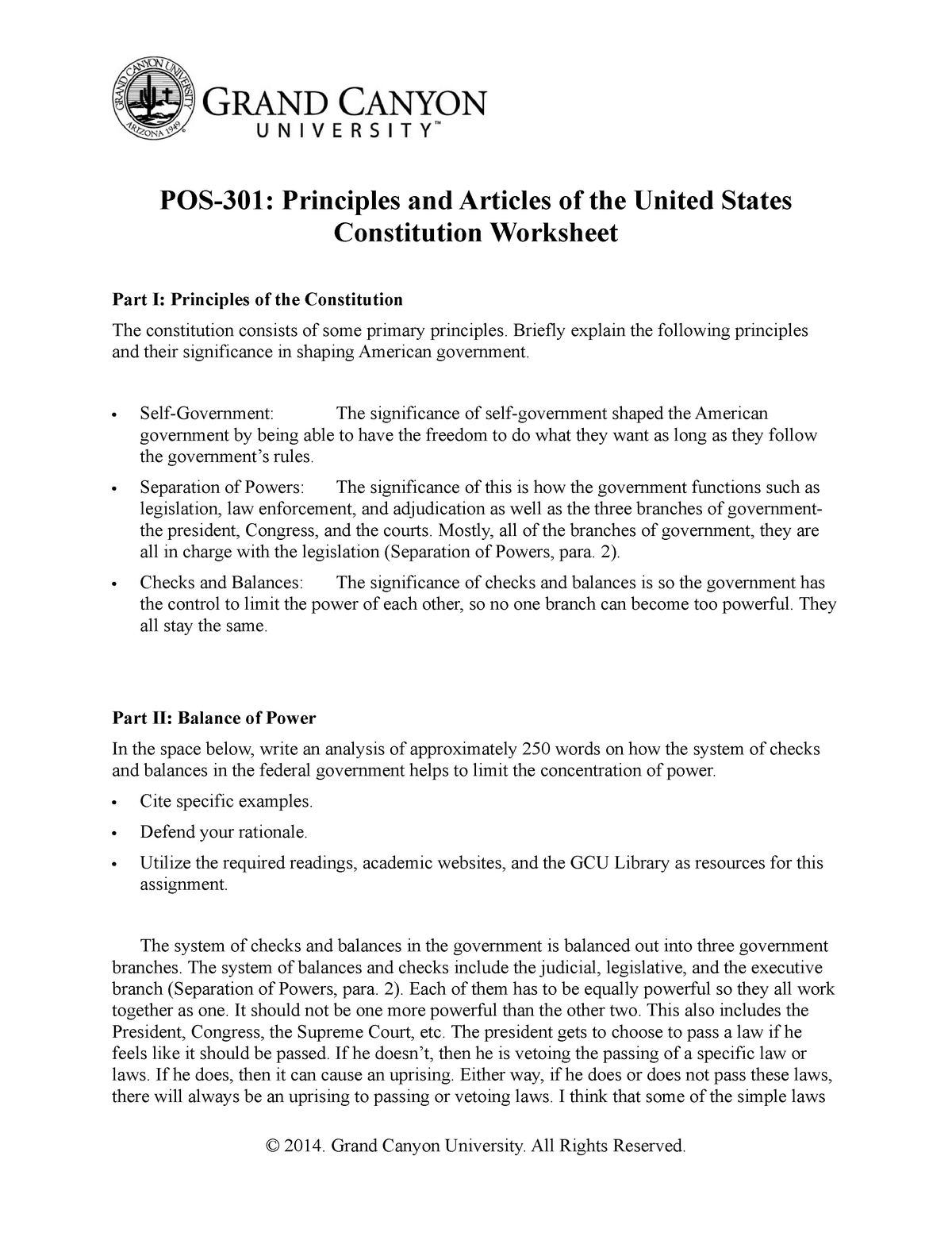 POS22 - Assignment about the government branches. - POS-22 Pertaining To The Us Constitution Worksheet Answers