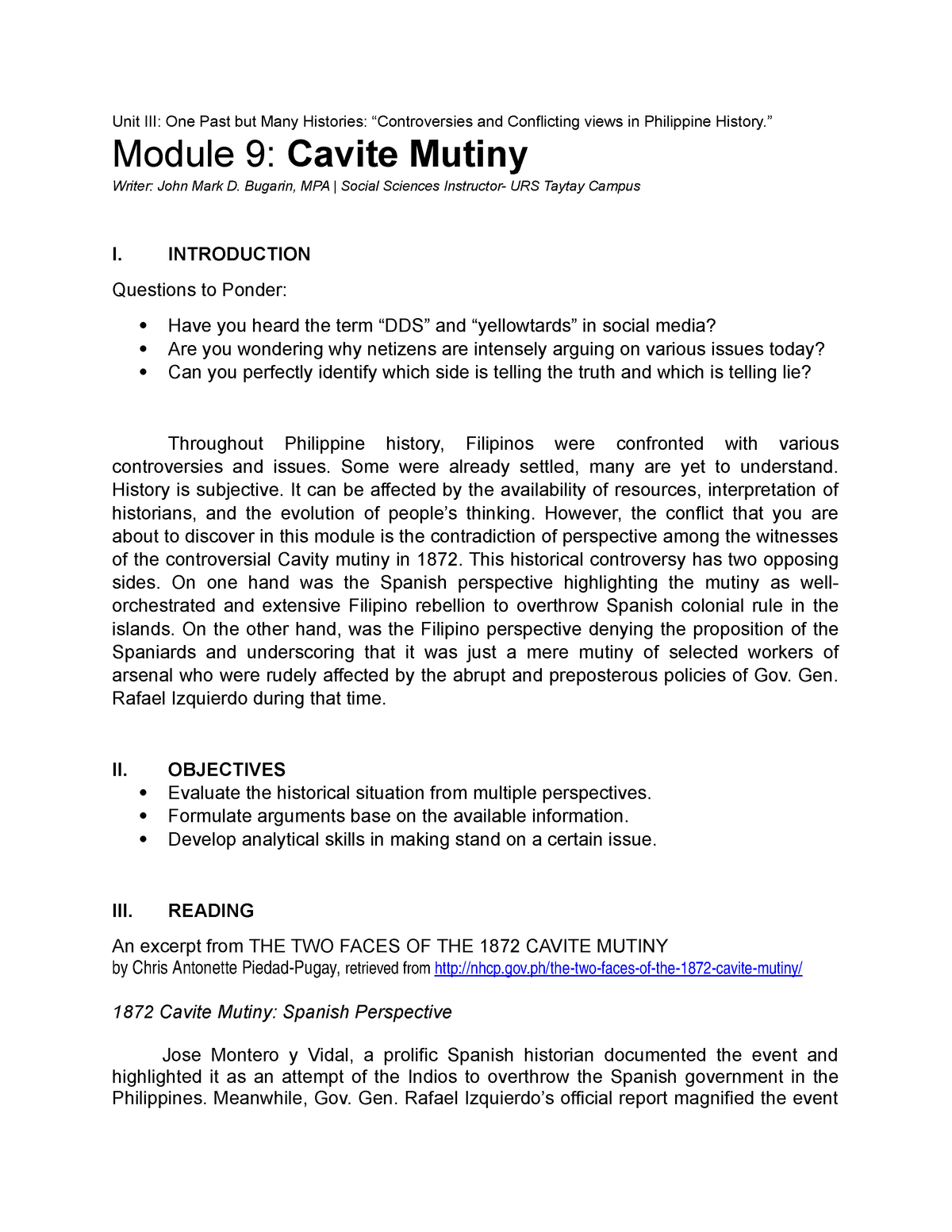 Module 9 Cavite Mutiny Hist 1 Unit One Past But Many Histories And Conflicting Views In Philippine Module Cavite Mutiny Writer John Mark Bugarin Mpa Social Studocu
