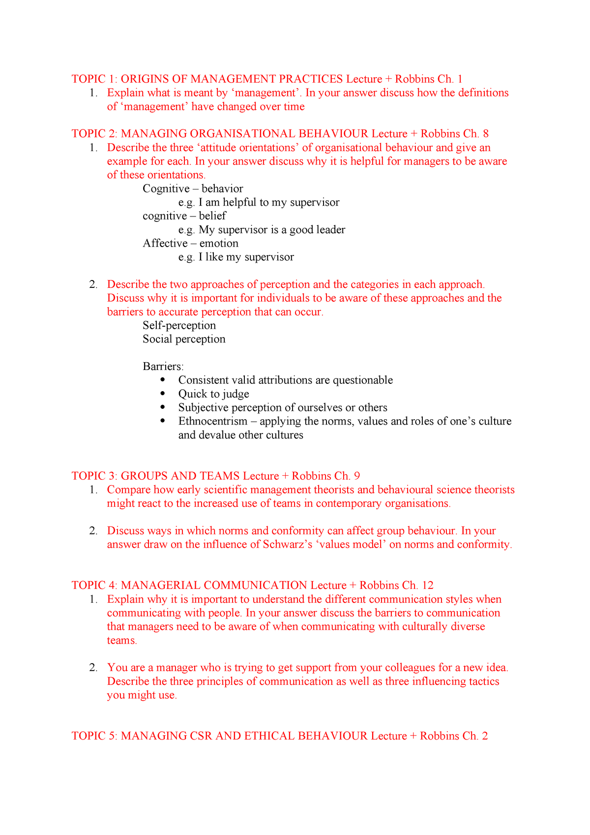 Management notes - BUSM4323 - RMIT - StuDocu