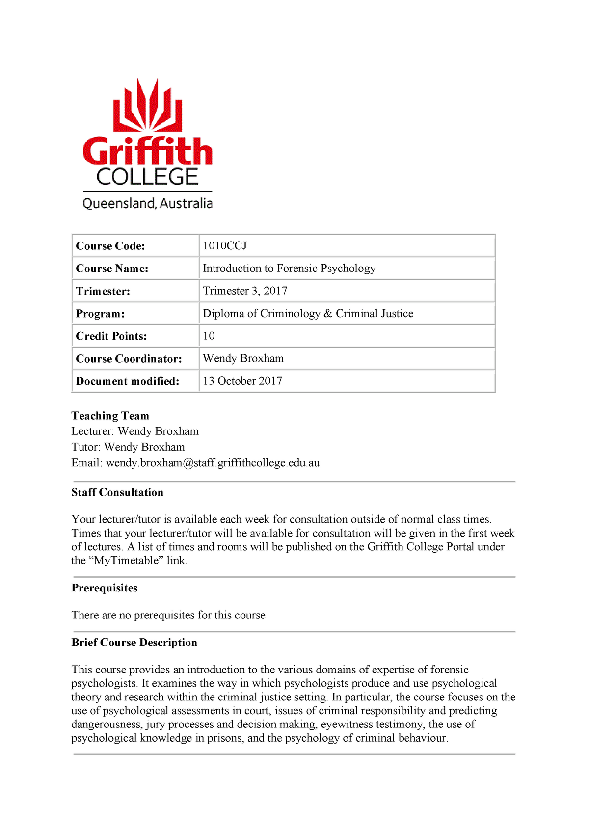 1010ccj Introduction To Forensic Psychology Griffith Studocu