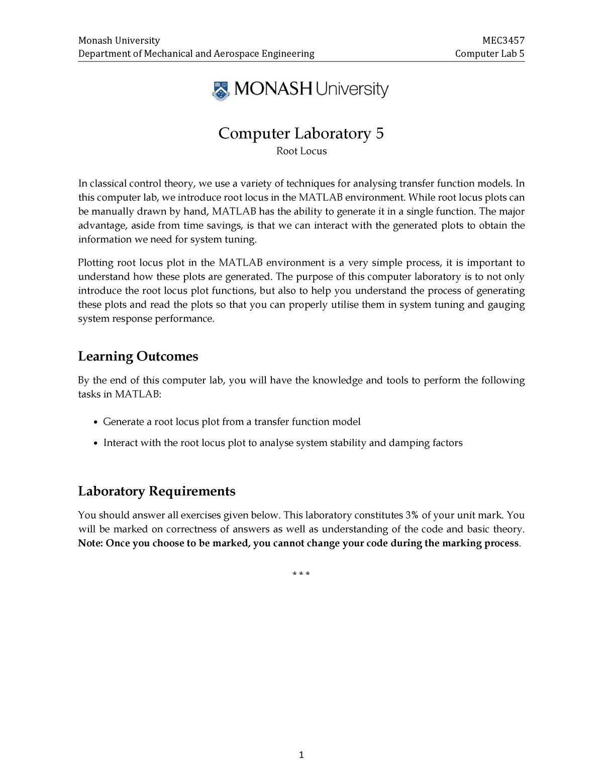 MEC3457 Computer Lab 5 - MEC3457: Systems And Control - StuDocu