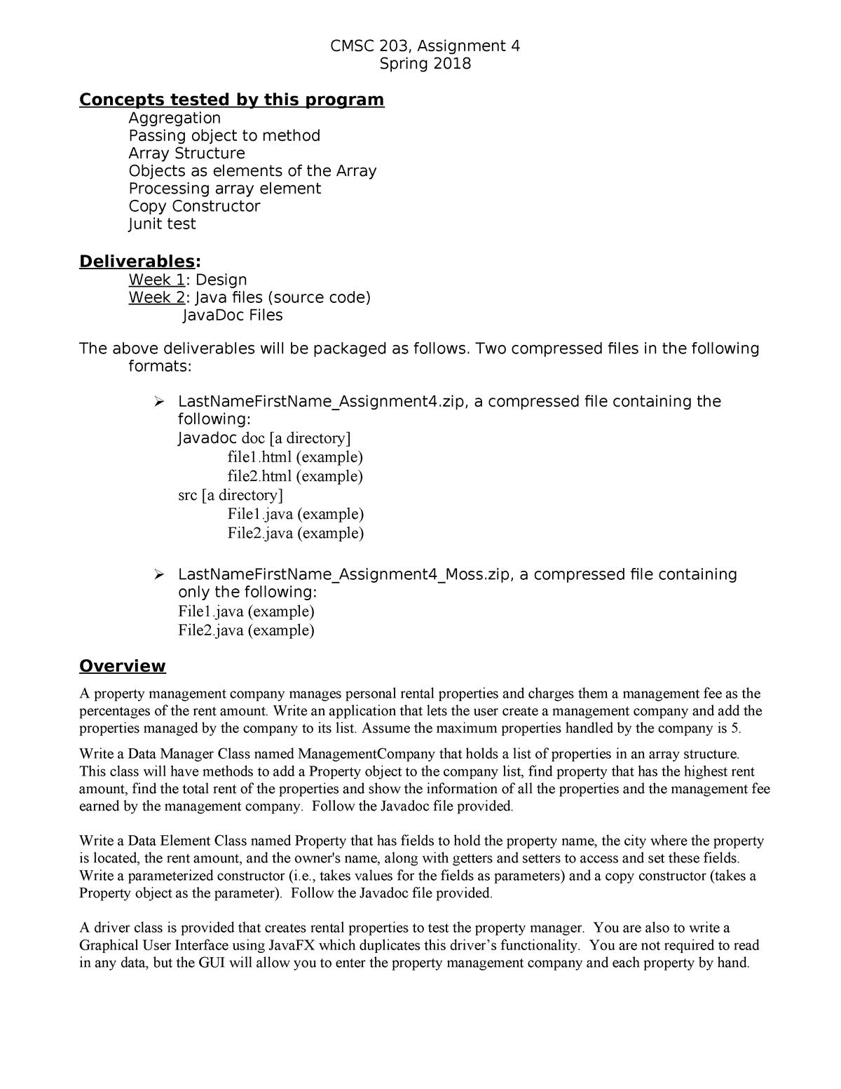 S2018 Assignment 4 w GUI - CS 103 Computer Science I - StuDocu