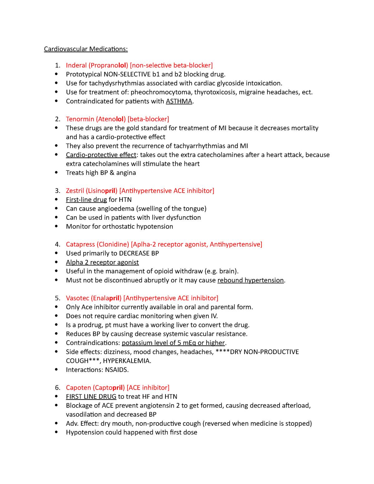 Drug Descriptions - pharmacology 2 final exam notes - NUR