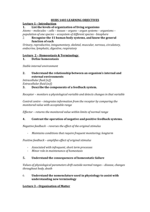 Learning Objectives HUBS 1403 ALL updated 22052019 - StuDocu