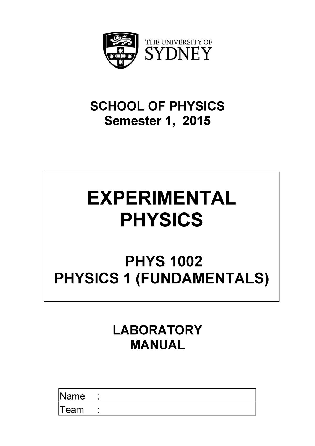Practical - lab manual - PHYS1002 Physics 1 (Fundamentals