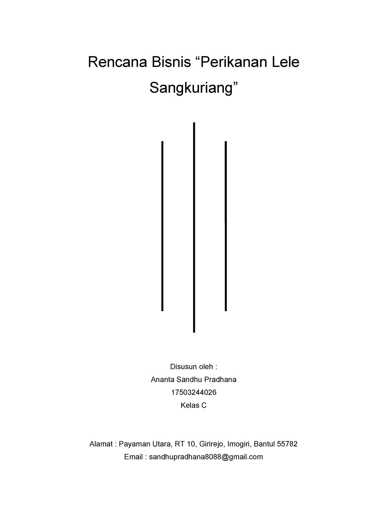 Rencana Bisnis Ikan Lele Sangkuriang Rencana Bisnis Lele Disusun Oleh Ananta Studocu