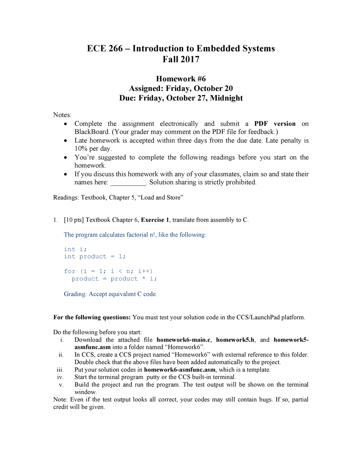 Homework 6 Complete Solution - ECE 266: Intro to Embedded Systems