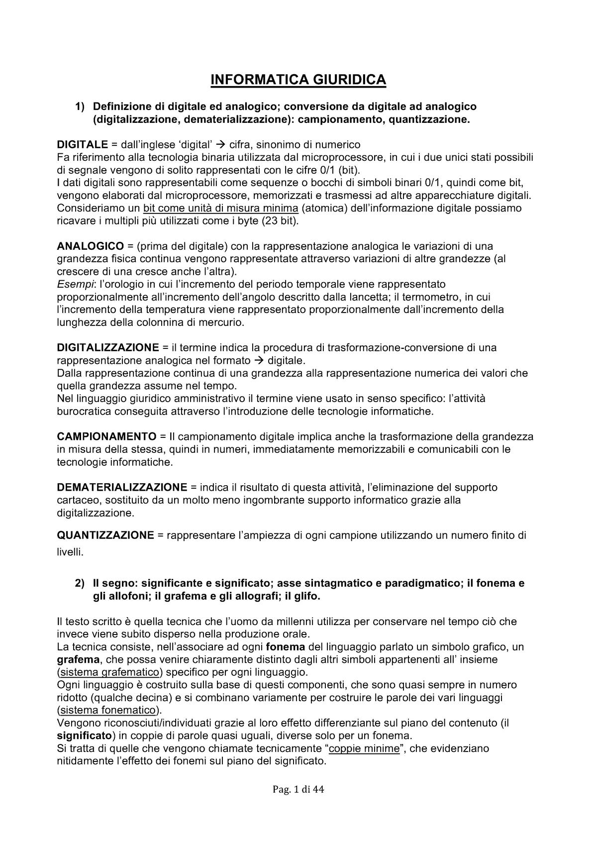 Syllabus Informatica Giuridica - 10706 - StuDocu
