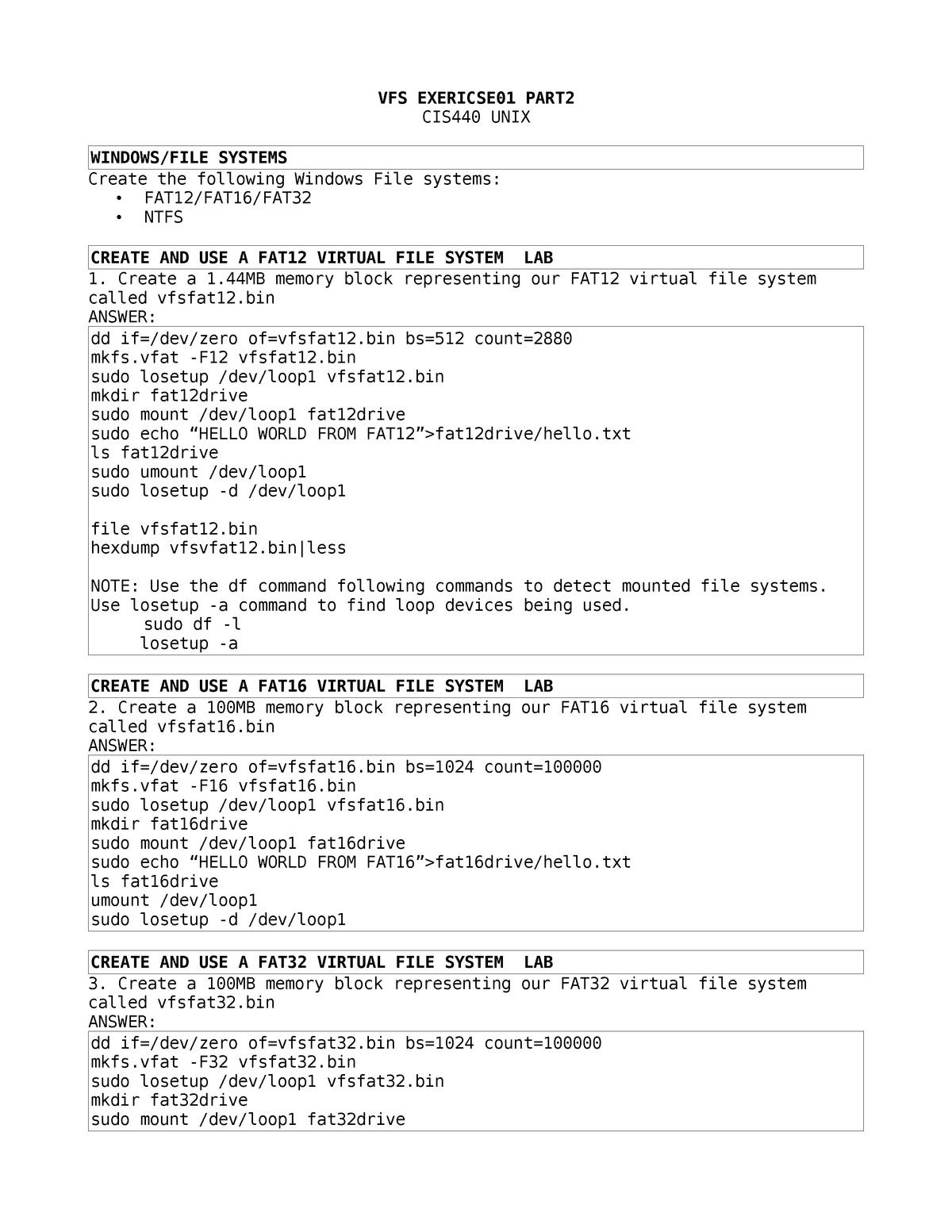 VFSExercise 02 - virtual file system management - CIS 440