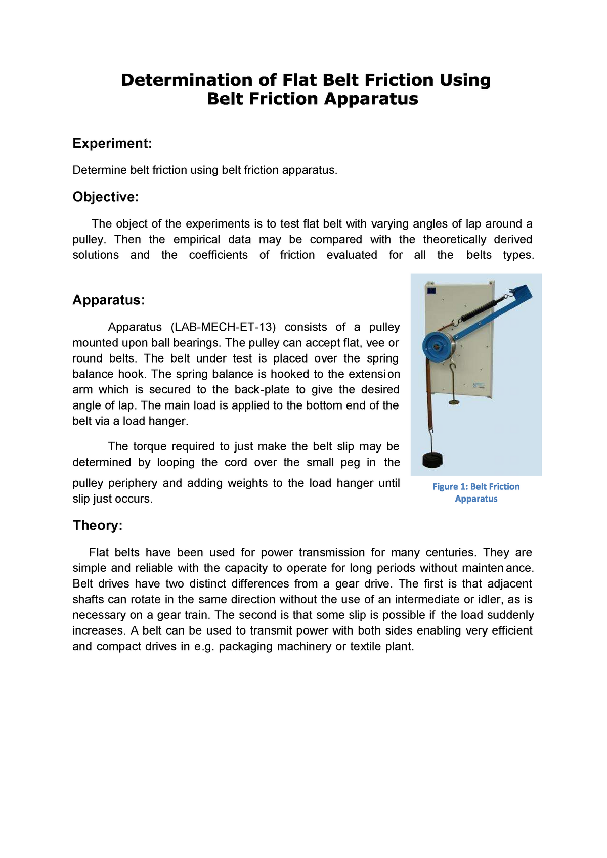 Belt Friction 2 - Dynamics ME-110 - StuDocu