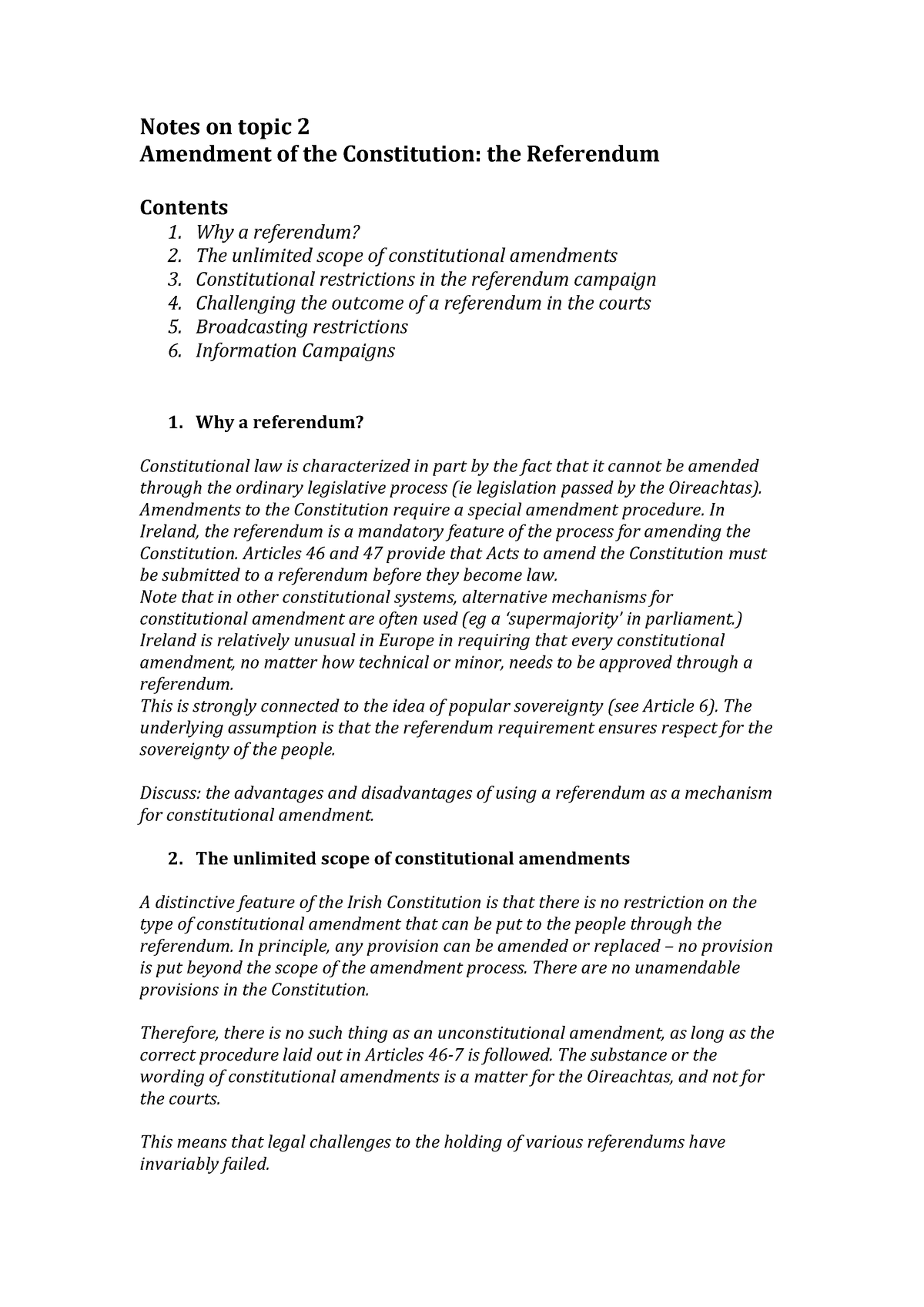 Overview notes on topic 2 (referendum) - Law LW - NUI Galway
