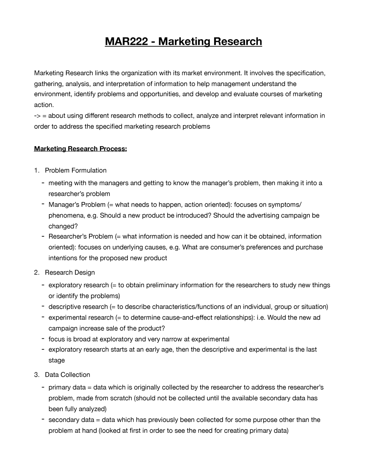Marketing Research Notes Mar 222 Studocu