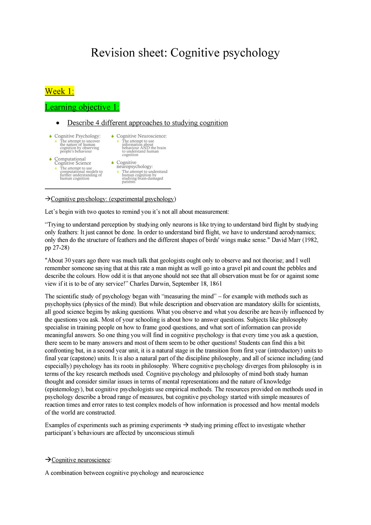 Revision sheet cognitive psychology - PSY20006 - Swinburne