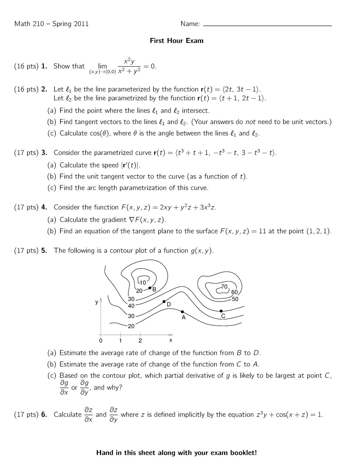 Exam Spring 2011, questions - MATH 210 Calculus Iii - UIC