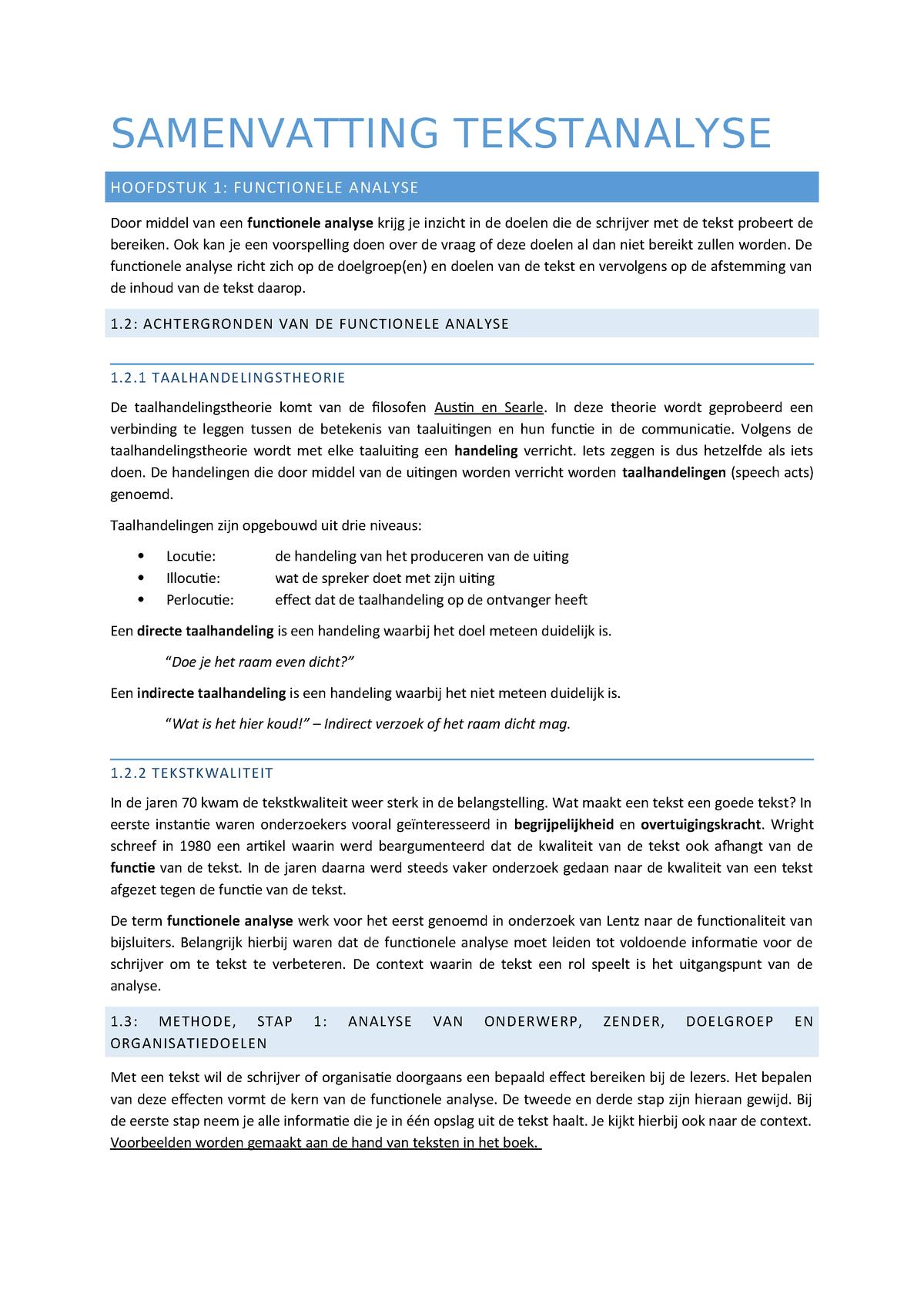 Samenvatting Tekstanalyse 22 Mar 2016 Studeersnelnl