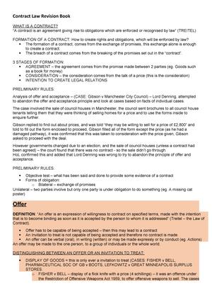 Full contract law notes - LA0631 - Northumbria - StuDocu