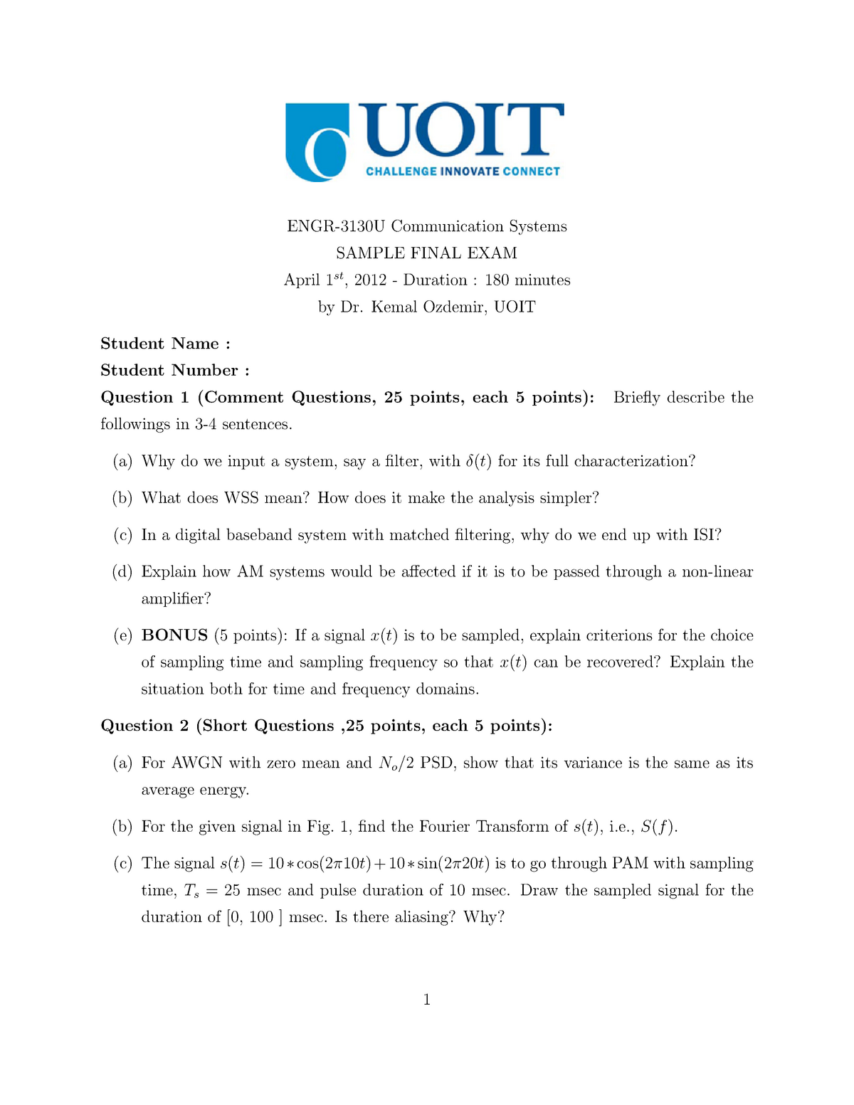 Exam 2012 - ELEE3130U: Communication Systems - StuDocu