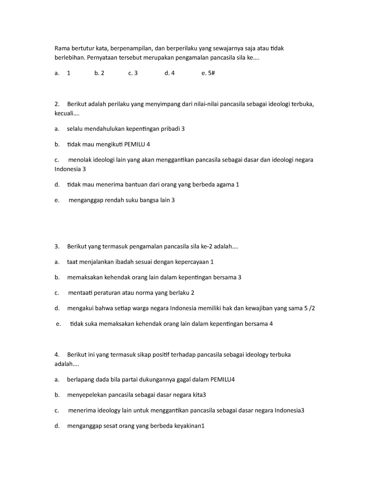 Contoh Soal Pengamalan Pancasila Mata Kuliah Pilihan 1 Studocu