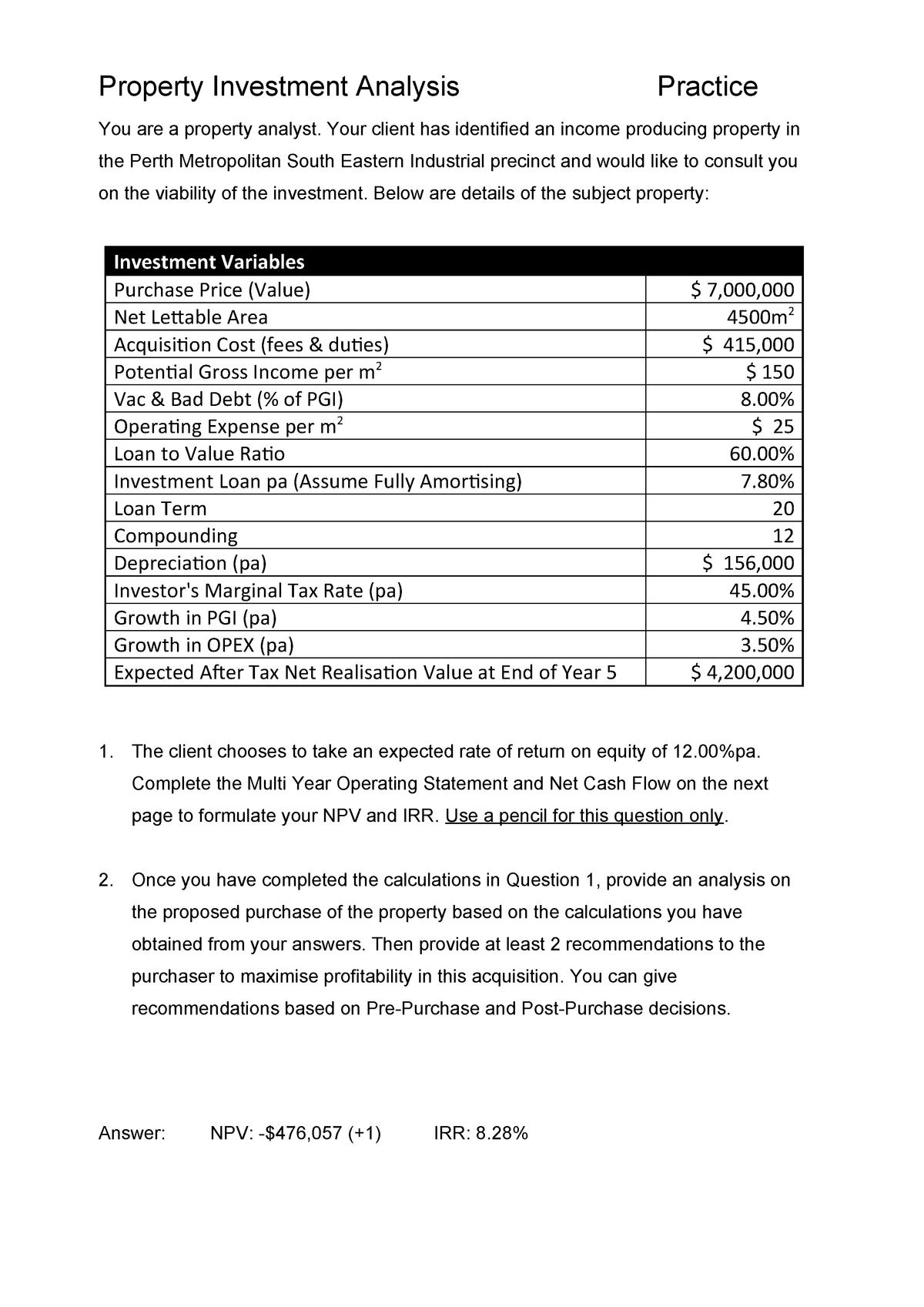 Exam 2018 - PROP3000: Property Investment Analysis - StuDocu