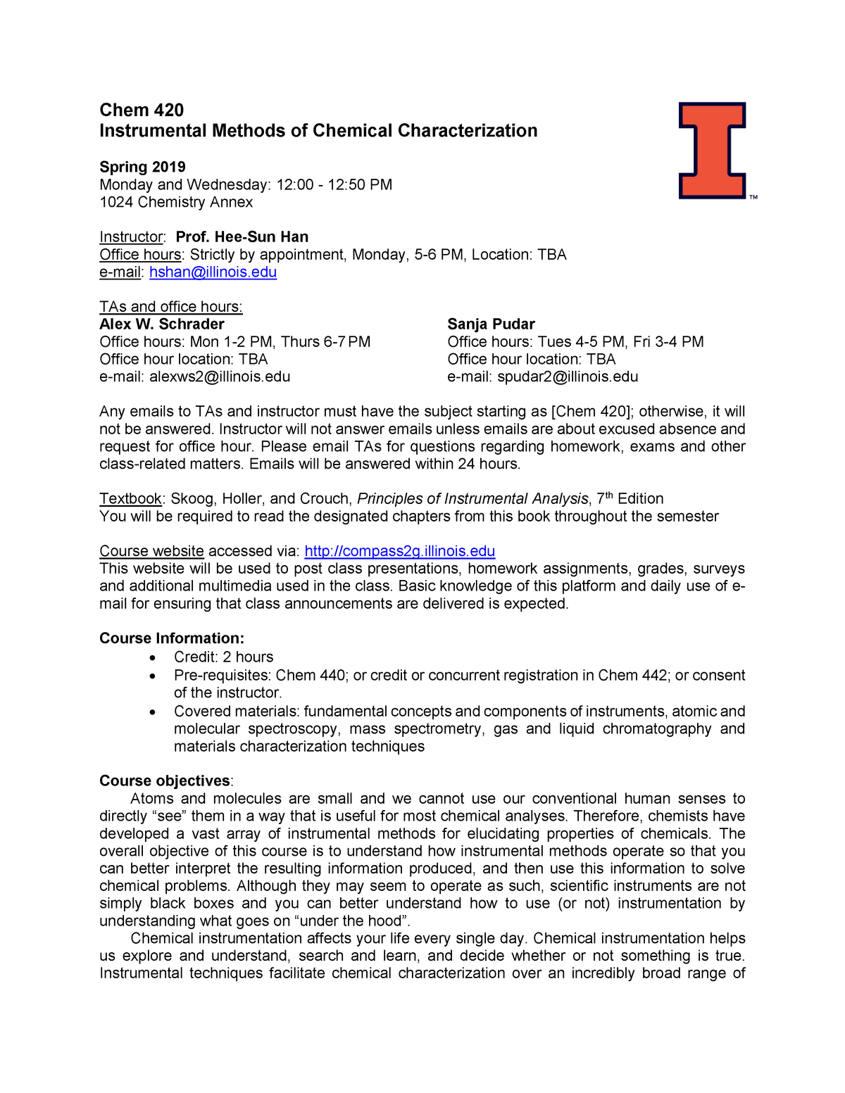 Chem 420 Spring 2019 Syllabus - CHEM 420 - Illinois - StuDocu