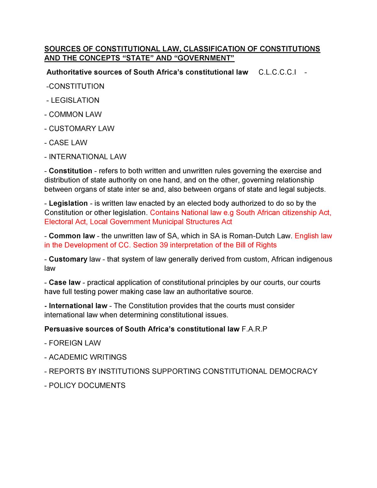 CONSTITUTIONAL LAW STUDY NOTES - LAW CSL2601 - UNISA - StuDocu