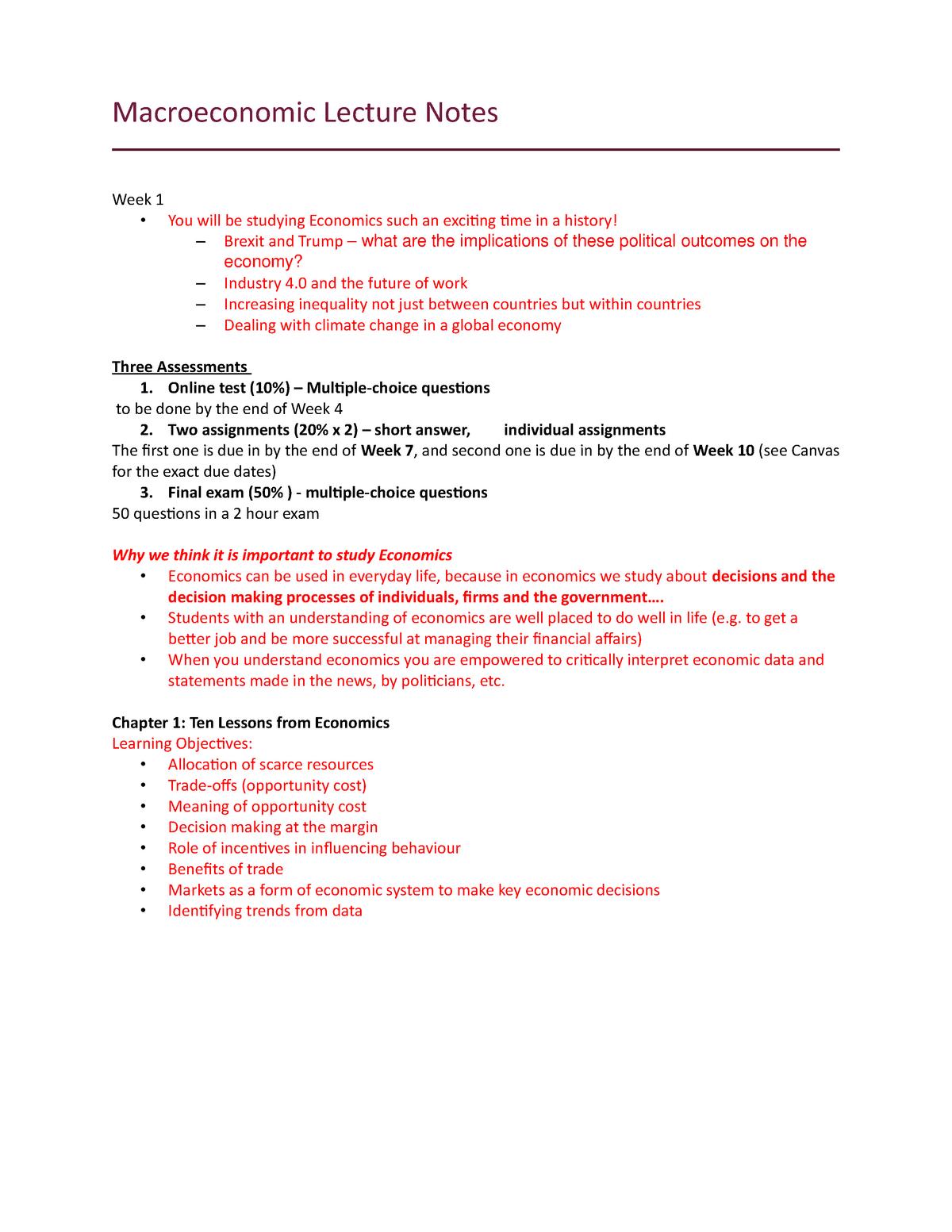 Macro Lecture Notes - ECON1016 - RMIT - StuDocu