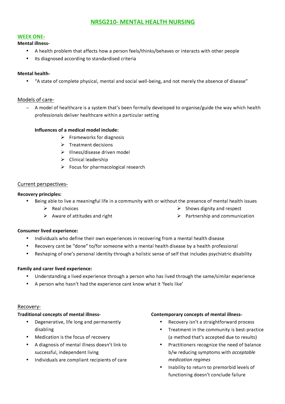 Nrsg210-semester-1-notes - NRSG210 : Mental Health Nursing - StuDocu
