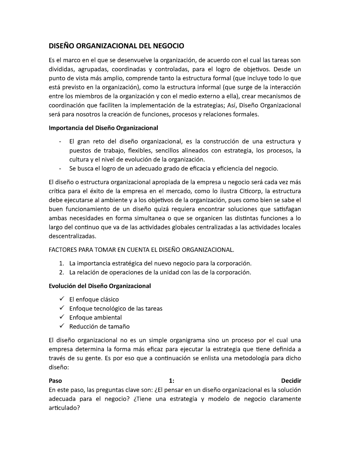 Diseño Organizacional Del Negocio H004 Uvm Studocu