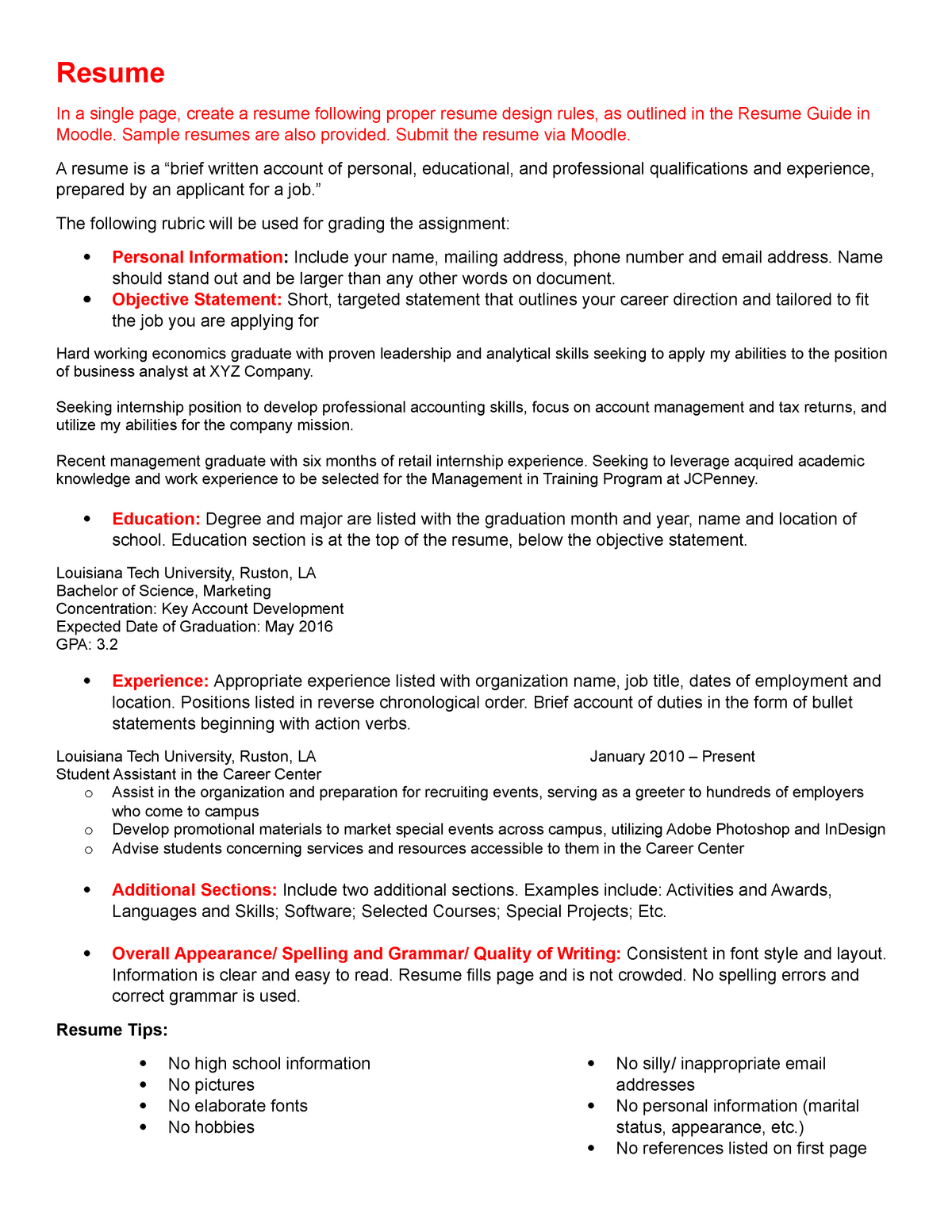 Resume And Cover Letter Assignment Studocu