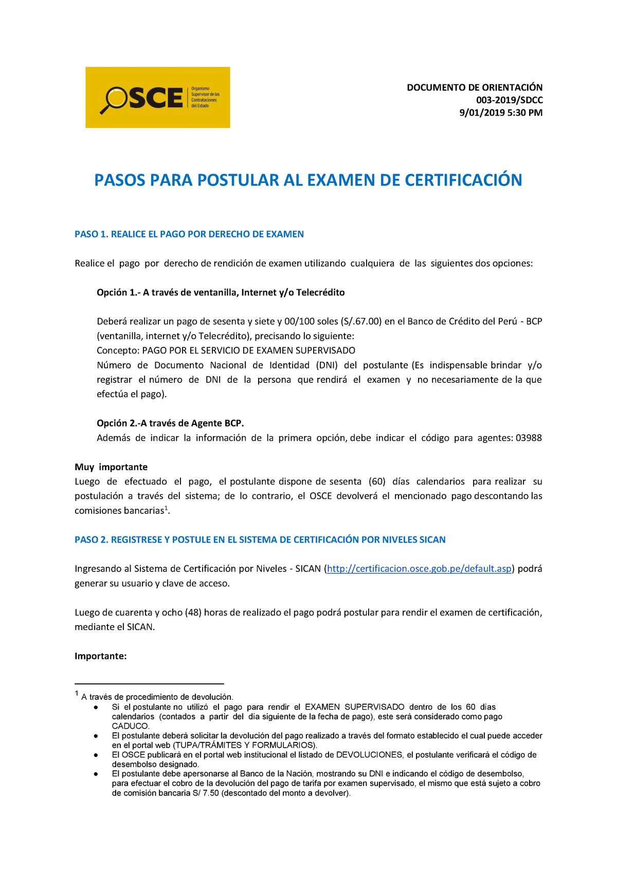 Pasos Certificacion Osce Studocu