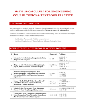 MATH 118 W19 Topics and Textbook Practice - MATH 118