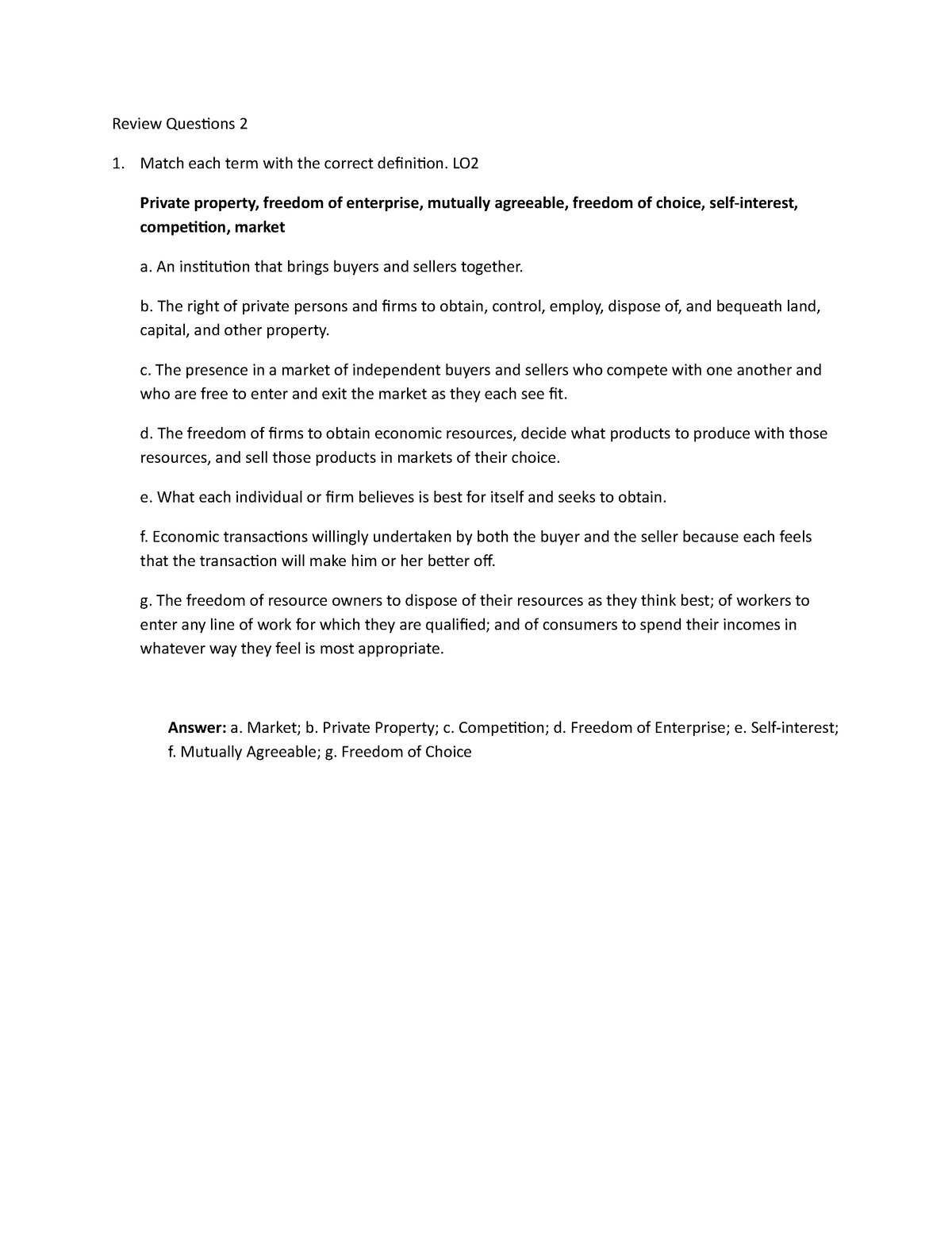 Chapter 2 Review Answer Key - ECON 1002 Microeconomics ...