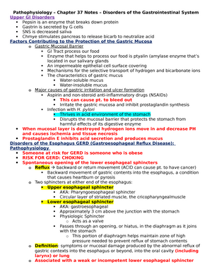 Pathophysiology – Chapter 37 Notes – Disorders of the