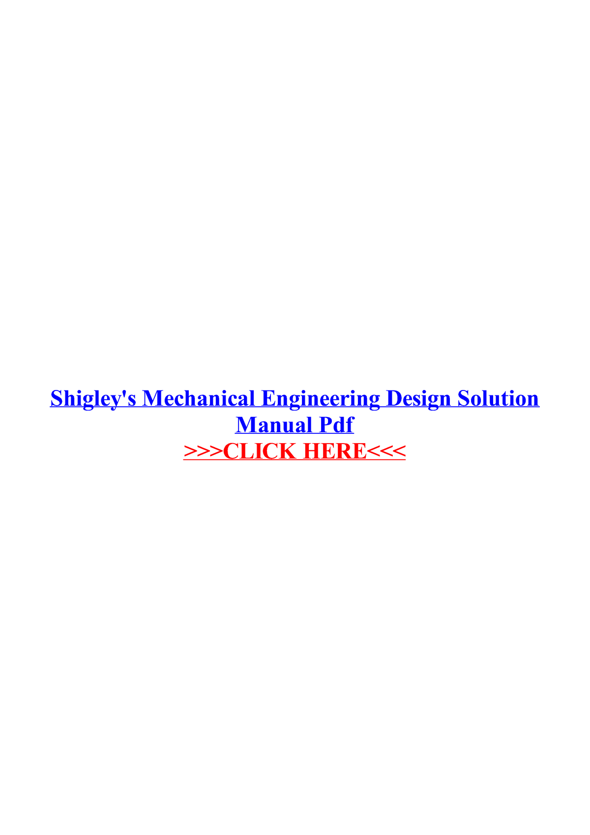 Shigleys Mechanical Engineering Design Solution Manual Pdf Studocu